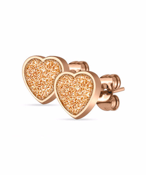 The Heart Earrings in Rose Gold