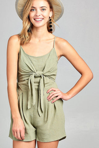 Ladies fashion sleeveless cami scoop neckline knotted with smocked back cotton slub romper - Ajai Apparel