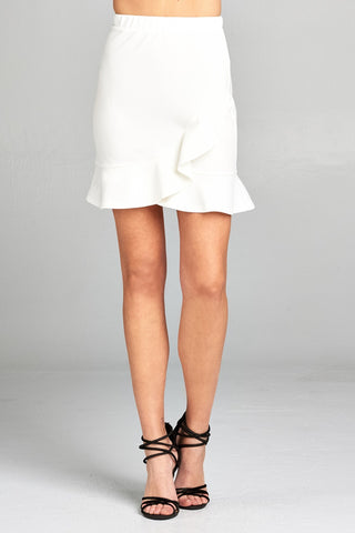 Ladies fashion banded waist wrap look w/ruffle mini skirt - Ajai Apparel