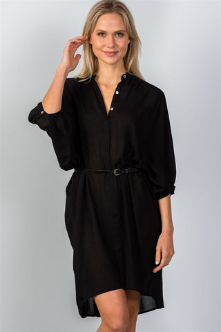 Ladies fashion button down front closure sheer batwing sleeves t-shirt belt included dress - Ajai Apparel