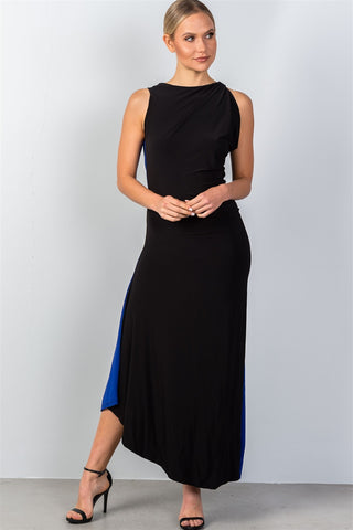 Ladies fashion draped back with necklace detail open back contrast color draped back maxi party dress - Ajai Apparel