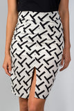 "Ladies fashion black & white ""t"" print double split pencil mini skirt - Ajai Apparel"