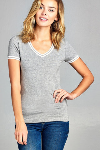 Ladies fashion short contrast ribbed sleeve and collar cotton rayon spandex top - Ajai Apparel