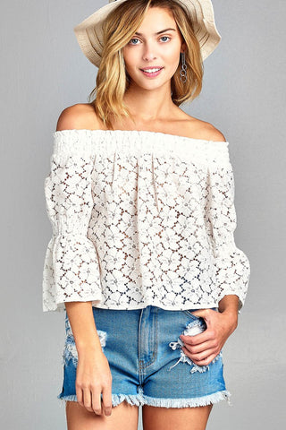 Ladies fashion off the shoulder w/smocked detail floral lace top - Ajai Apparel