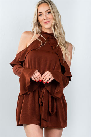 Ladies fashion tie long sleeve cold shoulder flounce romper - Ajai Apparel