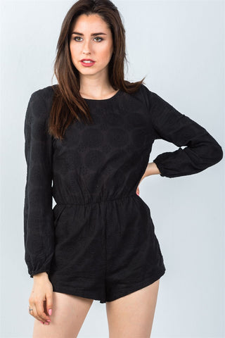 Ladies fashion black double tie-back long sleeve romper - Ajai Apparel