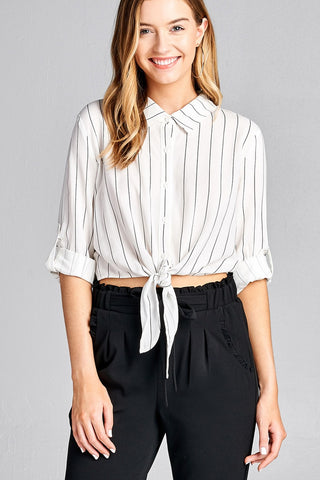 Ladies fashion 3/4 roll up sleeve front self tie w/button stripe rayon challis woven top - Ajai Apparel