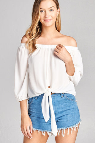 Ladies fashion 3/4 sleeve off the shoulder front self-tie crepe woven top - Ajai Apparel