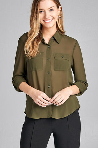 Ladies fashion long sleeve front pocket chiffon blouse w/ back button detail - Ajai Apparel