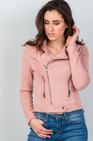 Ladies fashion asymmetric zippered faux suede jacket - Ajai Apparel