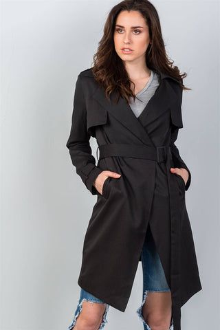 Ladies fashion tie waist contemporary belted long cardigan - Ajai Apparel