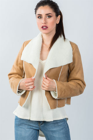 Ladies fashion relaxed fit faux sheepskin drape neck jacket - Ajai Apparel