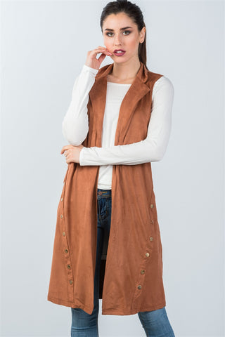 Ladies fashion knee length  sleeveless open front cardigan vest - Ajai Apparel