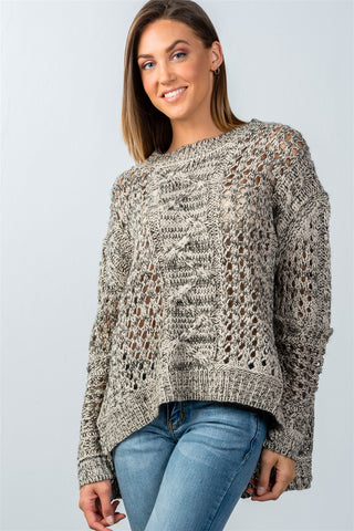 Ladies fashion  black and taupe open knit hi-low sweater - Ajai Apparel