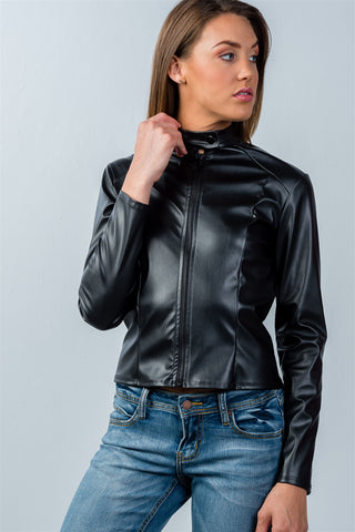 Ladies fashion snap button mock neck zip-up moto jacket - Ajai Apparel