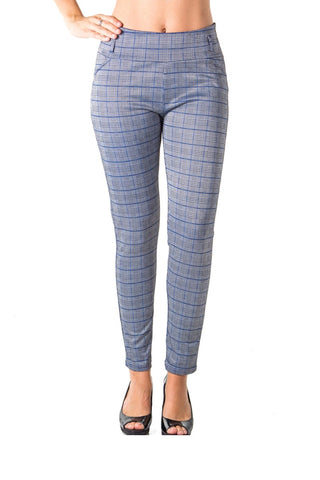 Ladies fashion casual plaid stretch trouser pants - Ajai Apparel