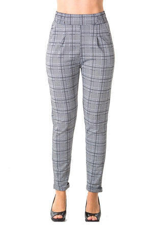 Ladies fashion casual plaid trouser pants, stretch, elastic waist, cuffed folded ankle & 2 front pockets - Ajai Apparel