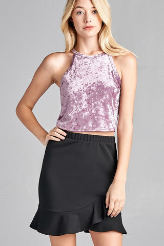 Ladies fashion round halter neck ice velvet crop top - Ajai Apparel