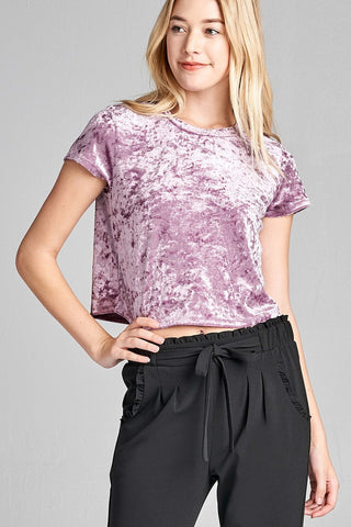 Ladies fashion short sleeve round neck ice velvet crop top - Ajai Apparel