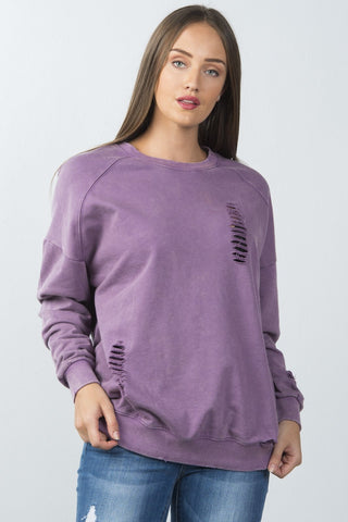 Ladies fashion long sleeves  distressed sweater - Ajai Apparel