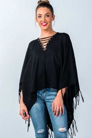 Ladies fashion lace-up front and fringed hem poncho - Ajai Apparel
