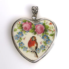 Robin and Roses Broken China Jewelry and Sterling Heart Pendant