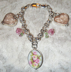 Broken China Jewelry and Depression Glass Bracelet with Charms
