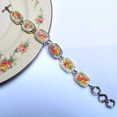 Homer Laughlin Broken China Jewelry Sterling Bracelet
