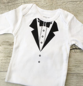Little Man Tuxedo Style Long Sleeve Onesie