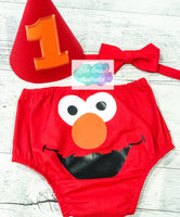 Red Hairy Monster Baby Cake Smash Outfit / Set