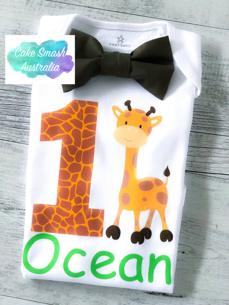 Custom Safari Themed Baby Cake Smash / First Birthday Romper