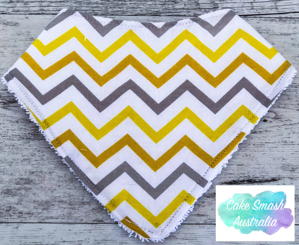 Baby Bandana Bib Mini Chevron Yellow