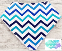 Baby Bandana Bib Mini Chevron Blue