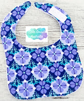 Newborn Baby Bib Floral Purple