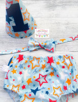 Lucky Star Blue Boys Cake Smash Set / First Birthday Outfit