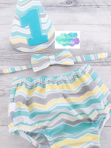 Baby Cake Smash / First Birthday Outfit / Ark Aqua Chevron
