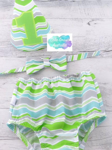 Baby Cake Smash / First Birthday Outfit / Ark Lime Chevron