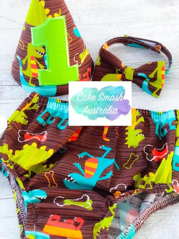 Baby Cake Smash / First Birthday Outfit / Dino Dude