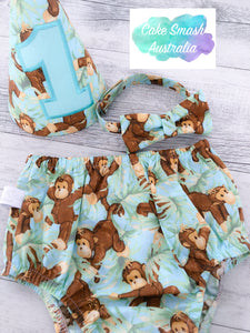 Monkey Business Boys Cake Smash Set / First Birthday Outfit