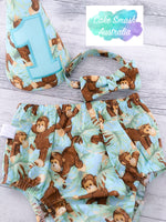 Monkey Business Baby Cake Smash Set / First Birthday Outfit