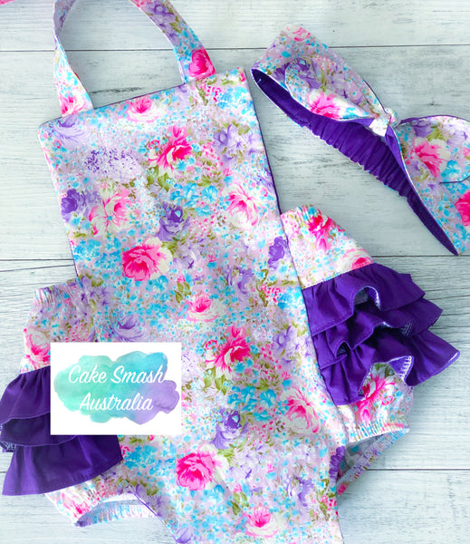 Baby Cake Smash Outfit / First Birthday / Ruffle Romper / Evie Floral