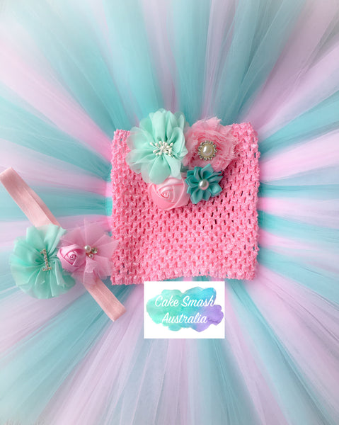 Pink & Aqua 3 Pc Tutu Cake Smash Outfit / Photography Prop