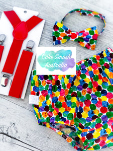 Baby Cake Smash / First Birthday Outfit / Very Hungry Caterpillar Dots