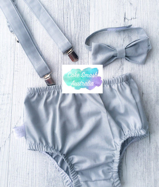 Baby Cake Smash Outfit / First Birthday Outfit / Light Grey