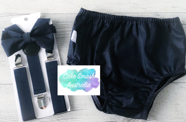 Baby Cake Smash Outfit / First Birthday Outfit / Oxford Navy