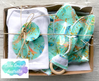 Newborn Gift Set / Baby Shower Gift / Peacock Feather