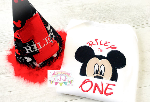 Mickey Mouse Inspired Onesie & Party Hat