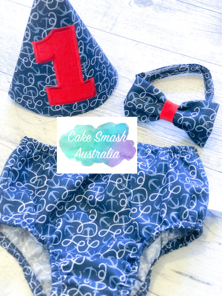 Baby Cake Smash Outfit / First Birthday Outfit / Away At Sea Nautical Anchor