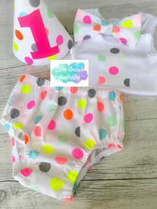 Neon Pop Girls 4 Pc Cake Smash Outfit / Photography Prop / First Birthday