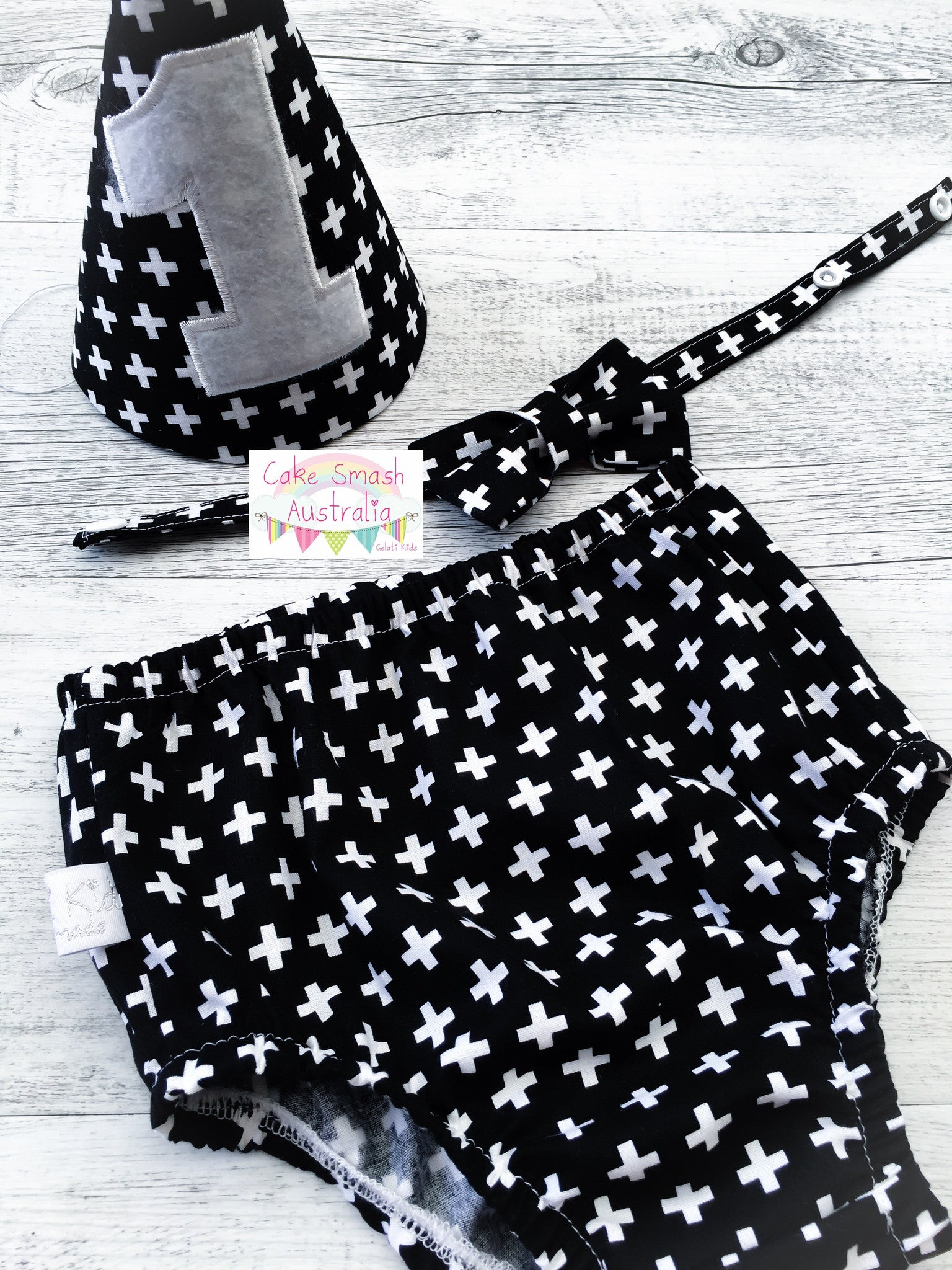 Geometric Black Baby Cake Smash Set